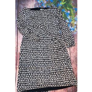 LOFT Black Cream Long Sleeve Dress Gathered Waist